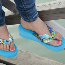 Beach Casual Slippers Womens Ladys Wedge Platform Thong Flip Flops Sandals Shoes