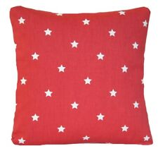 Red Cushion Cover White Stars Printed Designers Cotton Fabric Throw Pillow Case