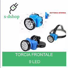 TORCIA LUCE LED LAMPADA FRONTALE DA TESTA CON ZOOM CACCIA PESCA RICARICABILE 9 L