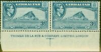 Gibraltar 1938 3d Light Blue SG125 P.13.5 MNH Imprint Pair