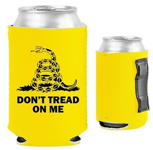 Gadsden Flag Magnetic Can Coolie, Neoprene Collapsible, 12 oz, Snake, Tread