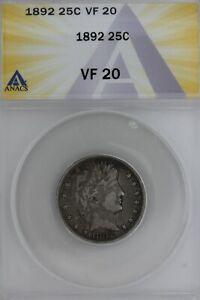 1892  .25  ANACS  VF 20  Barber Quarter, Liberty Head Quarter, Barber 25c,