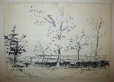 RENEFER Parc à CHEVAUX à BRAS (MEUSE) 1916 DESSIN signé au crayon par l'artiste