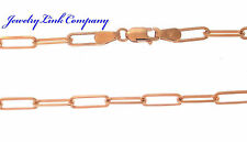 "14K Rose Gold Italian Made Elongated Diamond Cut Link Chain 22"" 7.8gr 3.2mm"