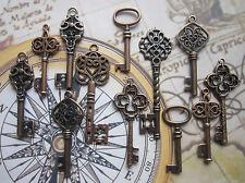 12 pcs Mix Steampunk Antique copper vintage Keys Charm Pendant wedding fancy