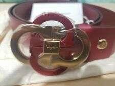 NWT Mens Salvatore Ferragamo Belt Red Gold Quad Interlocking Gancini Belt- 46