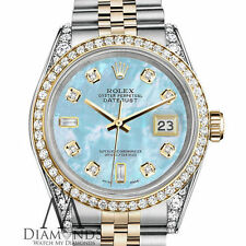 Ladies Rolex SS & Gold 26mm Datejust Baby Blue MOP 8+2 Diamond Dial Watch