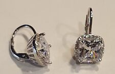 925 SILVER 2.5 CARAT PRINCESS CUT CLEAR CZ HALO LEVERBACK EARRINGS