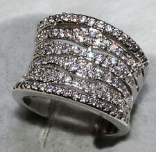 Sz 10 Hademade Women 925 Silver 110Pcs White Topaz Deluxe Wedding Huge Band Ring