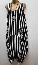 New Italian Lagenlook Black White Stripe Quirky long maxi Dress uk 16 18 20 22