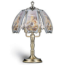 """23.5"""" Tall Metal Touch Table Lamp, Antique Brass finish, Lighthouse-Patterned..."""
