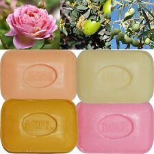 4 Savons de toilette parfumés : Rose, Fleur de Jasmin, Miel, Beurre de Karité