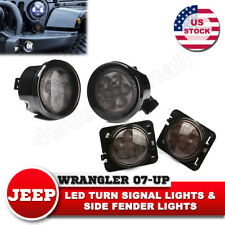 LED Turn Signal & Side Fender Lights Smoked Lens for Jeep Wrangler JK 07-17