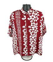Vintage Aloha Hawaiian Button Up Rayon Hibiscus Floral Shirt Men's Size XXL