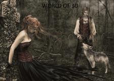 Victoria Frances Musica Chica con Wolf - 3D culto Fantasía imagen 400 Mm x 300 mm