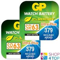 2 GP WATCH BATTERIES 379 SR63 SR521SW VR379 BATTERIES SILVER 1.55V EXP 2021 NEW