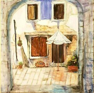 """ Old Italian Courtyard"" Original Painting- De Martino Art"