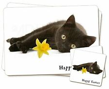 Black Cat 'Happy Easter' Twin 2x Placemats+2x Coasters Set in Gift , AC-185DA1PC