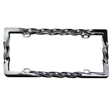 UAA® 1 Chrome 3D TWISTED SPIRAL Metal License Plate Frame for car truck suv