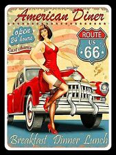 American Diner Route 66, Retro replica vintage style metal sign Gift Garage