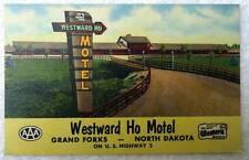Linen Postcard Westward Ho Motel Grand Forks North Dakota #12