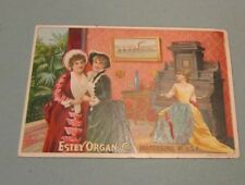 Estey Organ Co. Woman Playing Organ Victorian Trade Card Brattleboro VT Music