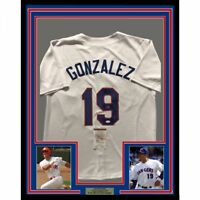FRAMED Autographed/Signed JUAN GONZALEZ 33x42 Texas White Jersey JSA COA Auto