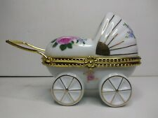 Vintage Porcelain Baby Carriage Babys First Tooth/ Curl Trinket Box Euc