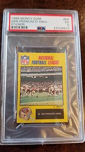 1988 MONTY GUM NFL STICKER CARD ENGLAND JOE MONTANA 49ERS NOTRE DAME 68 PSA 5 EX