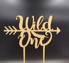1Pc Cake Topper Wild One Number Baby Boy Girl Wooden Birthday Party Decor Supply