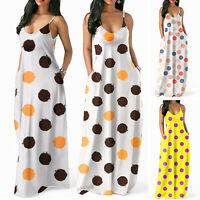 Women's Summer Beach Dress Boho Long Maxi Dresses Casual Polka Dot Sundress