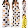 Women Polka Dots Sleeveless Beach Casual Sundress Summer Maxi Slip Dress Bohemia
