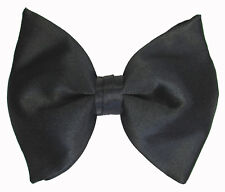 New Black Satin Butterfly Bow Tie Over Sized Pre-Tied Adjustable Free Shipping
