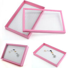 100 Ring Jewelry Display Storage Box Tray Show Case Organiser Holder Velvet Pink