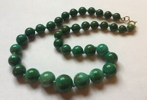 Vintage Green ?? Turquoise Stone Knotted Beads Necklace What Are They Gemstone