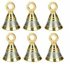 Laiton Pooja Salle Cloches 6 Pièce 1-1/2 Inch, 38 MM, Argent Or