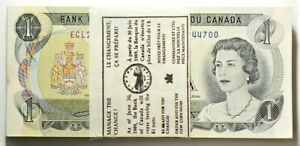 1973 Canada $1 Dollar Bundle Lot of 100 Consecutives Crow Bouey #11604