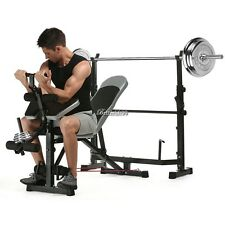 Olympic Weight Bench Set CAP Barbell Deluxe With 100Lb Weights Lifting Bar Press
