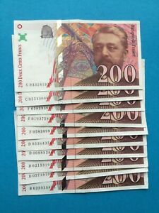 10 billets de 200 Francs EIFFEL FRANCE 1996 1997 TTB