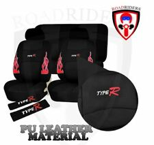 Type R Universal Fit PU Leather Car Seat Cover Set - BLACK