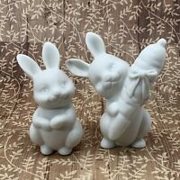 Hallmark Cards Bunny Rabbit Figurine White Fine Bisque Porcelain Lot of 2 Easter