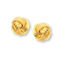 Italian Textured Loveknot Love Knot Rosetta Stud Earrings Real 14K Yellow Gold