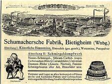 Fábrica schuhmacherische Bietigheim bimssteine publicitarias histórica de 1912