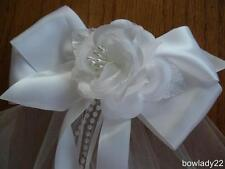 Large Boutique Bow Veil with Rose Center perfect for First Communion or Wedding