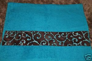 NEW HAND GYM TOWEL APPLIQUE BANDED * Bright Blue Thick Brown Batik Band