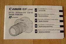 Manual de instrucciones Canon EF lens ef75 - 300mm f4-5, 6 is Image Stabilizer