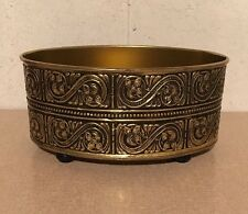 Unique Vintage Raised Embossed Oval GUILDCRAFT USA Footed Tin Container Planter