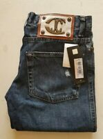 JUST CAVALLI JEANS BLUE DENIM BUTTON FLY SLIM FIT SIZE W 29 L33 ITALY RRP £270