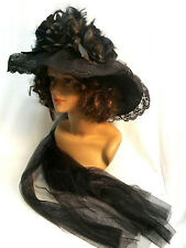 Ladies Hat Old West Victorian Edwardian style Elsie Massey Black Lace Feathers