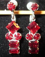 Vintage Screw Back Silver Tone Earrings Ruby Red Faceted Prong Set Stones